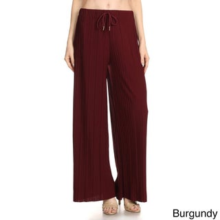 Jed Women's Elastic Drawstring Waist Pleated Soft Comfortable Wide-leg Pants (3 options available)