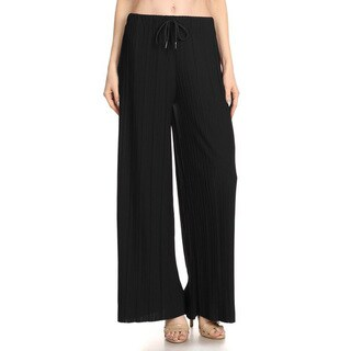 Jed Women's Elastic Drawstring Waist Pleated Soft Comfortable Wide-leg Pants
