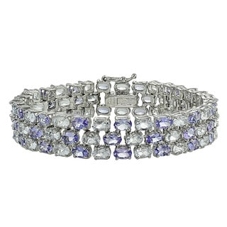 Glitzy Rocks Sterling Silver Tanzanite and Aquamarine Three-tier Bracelet