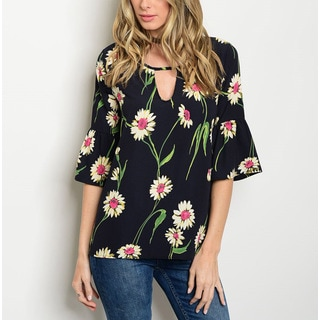 Jed Women's Bell-sleeve Sunflower-print Relax-fit Tunic Top