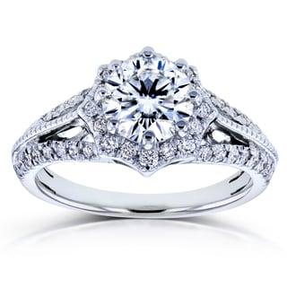 Annello by Kobelli 14k White Gold Forever One DEF Moissanite and 1/3ct TDW Diamond Star Halo Ring (H-I, I1-I2)