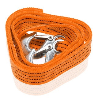 Zone Tech 3-ton Heavy-duty Emergency Orange Nylon 10-feet Long Car Tow Strap with Hooks