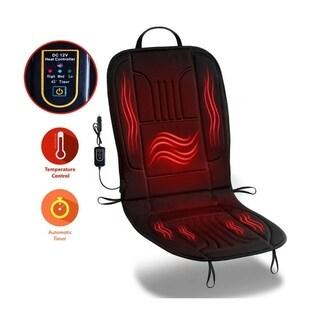 Zone Tech Black Fabric Car Heated Seat Cover Cushion