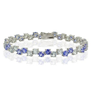 Glitzy Rocks Sterling Silver 4mm Tanzanite and Aquamarine Round Bracelet