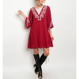 Jed Women's Burgundy Flutter-sleeve Embroidered Tunic Dress