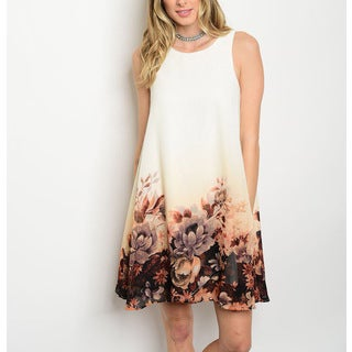 JED Women's Chiffon Sleeveless Floral-print Flowy Tunic Tank Dress