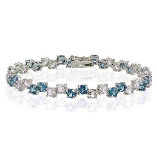Glitzy Rocks Sterling Silver 4mm London Blue Topaz and Tanzanite Round Bracelet
