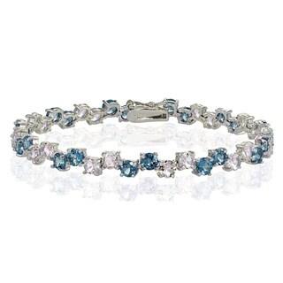 Glitzy Rocks Sterling Silver 4mm London Blue Topaz and Tanzanite Round Bracelet