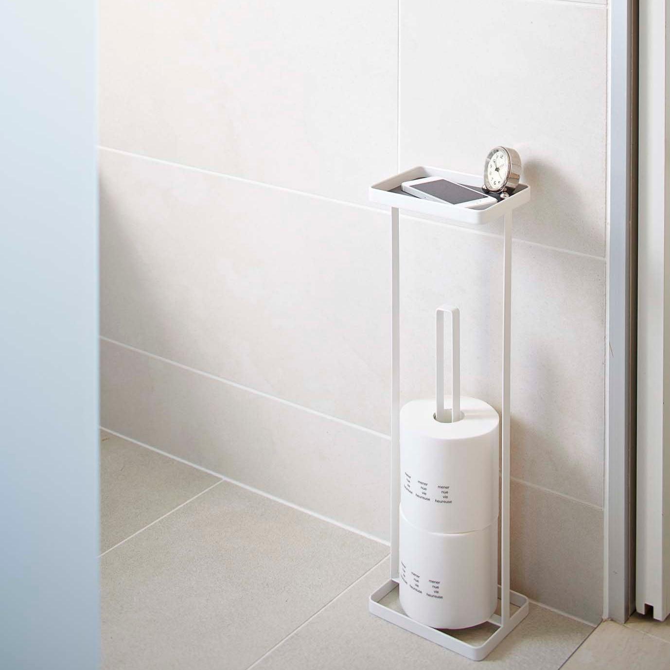 One Size Bathroom Storage Holder Stand Natural Yamazaki Home Rin Toilet Paper Dispenser