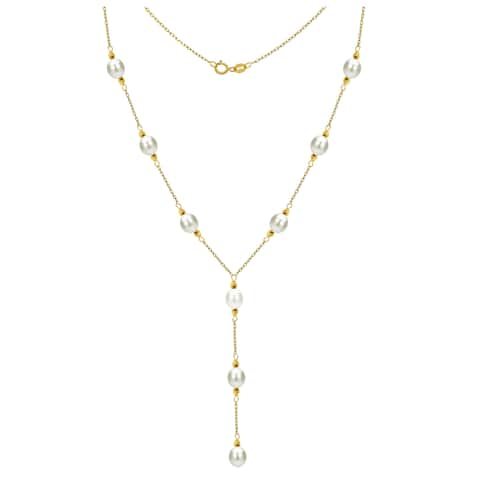 """DaVonna 14k Yellow Gold 8-9mm White Freshwater Cultured Pearl Station Necklace, 16"""" + 3"""" Drop"""
