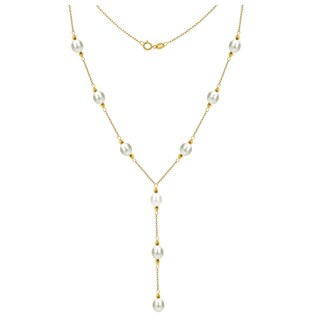 "DaVonna 14k Yellow Gold 8-9mm White Freshwater Cultured Pearl Station Necklace, 16"" + 3"" Drop"