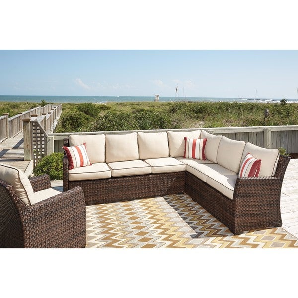 Shop Signature Design by Ashley Salceda Brown Outdoor Sofa ... on Safavieh Outdoor Living Granton 5 Pc Living Set id=52574