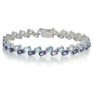 Glitzy Rocks Sterling Silver Tanzanite and Aquamarine 2-row Bracelet
