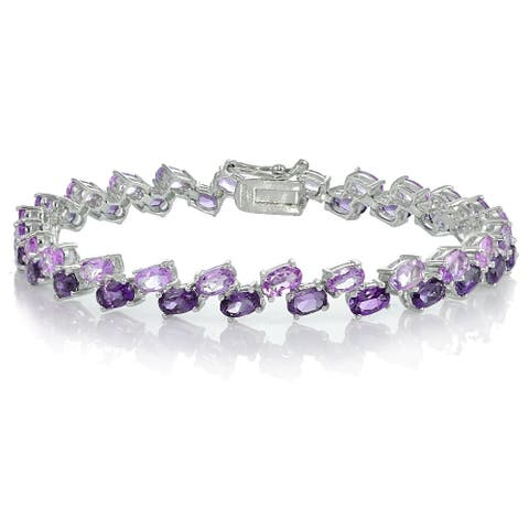 Glitzy Rocks Sterling Silver Amethyst and African Amethyst 2-row Bracelet