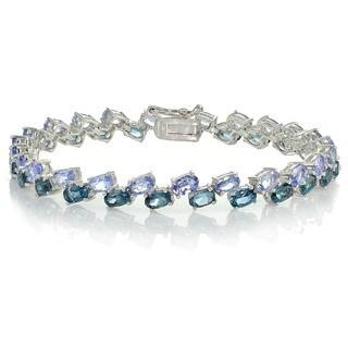 Glitzy Rocks Sterling Silver Tanzanite and London Blue Topaz 2-row Bracelet