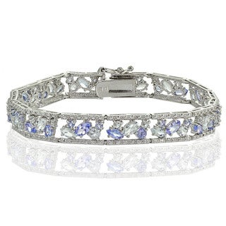 Glitzy Rocks Sterling Silver Tanzanite and Aquamarine Cluster Bracelet