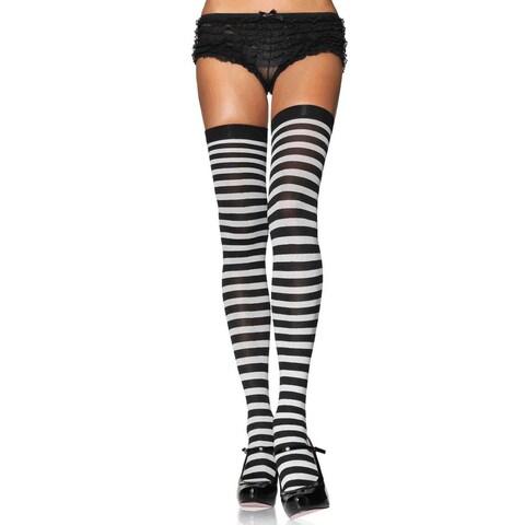 Leg Avenue Womens' Black and White Nylon-blend Plus-size Striped Stocking