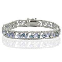 Glitzy Rocks Sterling Silver Tanzanite and London Blue Topaz Cluster Bracelet