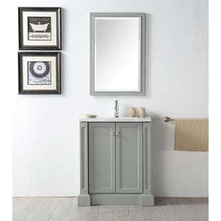 Legion Furniture 30-inch Cool Grey Single Sink Vanity Set With Mirror