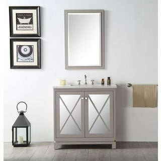 Legion Furniture 36-inch Warm Gray Single Sink Vanity With Matching Mirror
