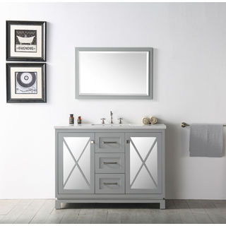 Legion Furniture 48-inch Cool Grey Single Sink Vanity With Matching Mirror
