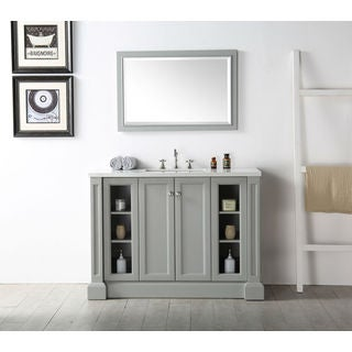 Legion Furniture 48-inch Cool Grey Single Sink Vanit with matching Mirror