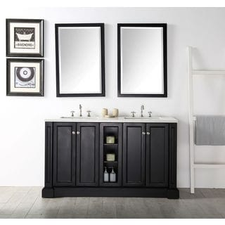Legion Furniture Expresso Double Sink Vanity with 2 Matching Mirrors