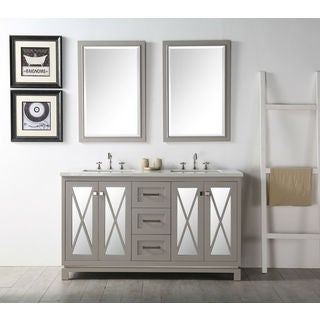 Legion Furniture 60-inch Warm Gray Double Sink Vanity With Two Matching Mirrors