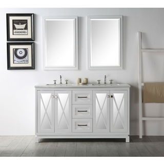 Legion Furniture White Double Sink Vanity with 2 Matching Mirrors