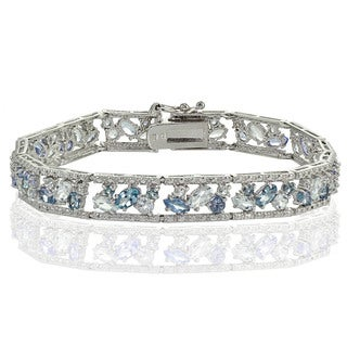 Glitzy Rocks Sterling Silver Blue Topaz and London Blue Topaz Cluster Bracelet