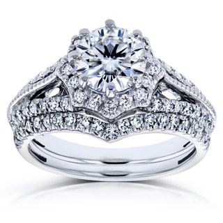 Annello by Kobelli 14k White Gold 1 1/2ct TCW Forever One GHI Moissanite and Diamond Star Halo 2-Ring Bridal Set (H-I, I1-I2)