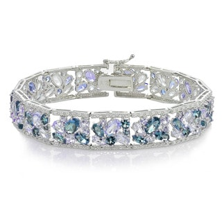 Glitzy Rocks Sterling Silver Tanzanite and London Blue Topaz Cluster Bracelet