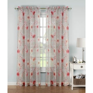 Window Elements Pamela 84-inch Printed Sheer Extra-wide Rod Pocket Curtain Panel - 54 x 84