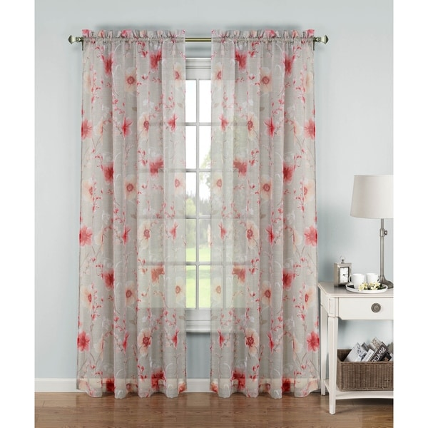 Window Elements Pamela 84 Inch Printed Sheer Extra Wide Rod Pocket Curtain Panel
