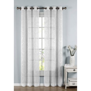Window Elements Elena White Cotton-blend Sheer 96-inch Curtain Panel Pair