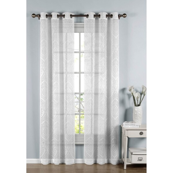 Window Elements Elena White Cotton Blend Sheer 96 Inch Curtain Panel Pair
