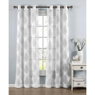 Window Elements Penelope White Cotton-blend 96-inch Burnout Sheer Grommet Curtain Panel Pair
