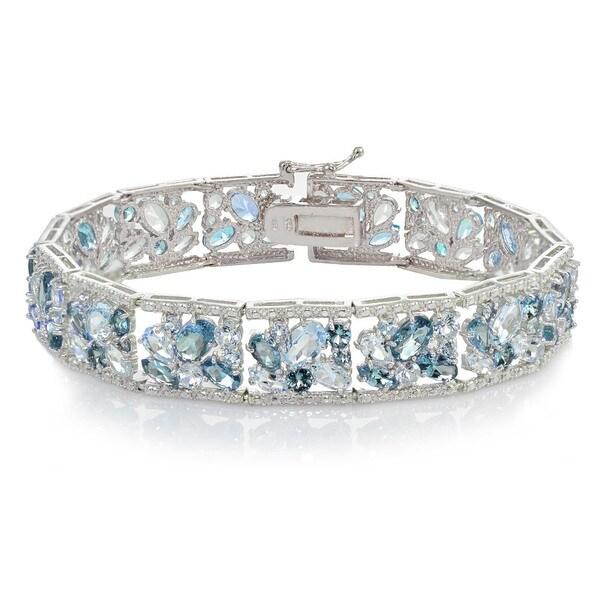 Glitzy Rocks Sterling Silver Blue Topaz and London Blue Topaz Cluster Bracelet