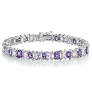 Glitzy Rocks Sterling Silver African Amethyst, Amethyst and White Topaz Oval Bracelet
