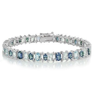 Glitzy Rocks Sterling Silver Tanzanite, Blue and White Topaz Oval Bracelet