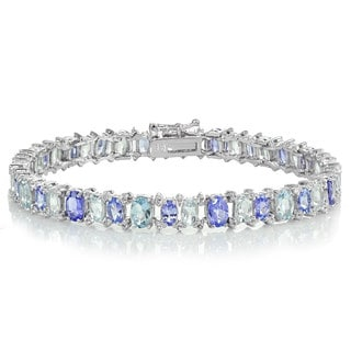 Glitzy Rocks Sterling Silver Tanzanite, Aquamarine and White Topaz Oval Bracelet