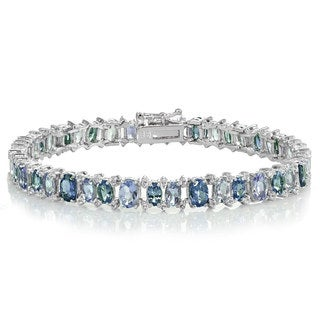 Glitzy Rocks Sterling Silver Tanzanite, London Blue and White Topaz Oval Bracelet
