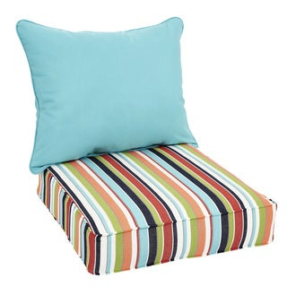 Oakley Sunbrella Striped and Solid Indoor/ Outdoor Corded Pillow and Chair Cushion Set