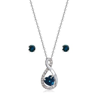 Glitzy Rocks Sterling Silver London Blue and White Topaz Infinity Heart Necklace Earrings Set