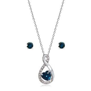 Glitzy Rocks Sterling Silver London Blue and White Topaz Infinity Heart Necklace Earrings Set