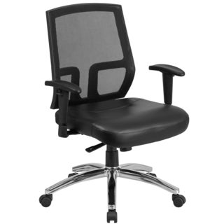 Glendale Big & Tall Black Mesh Executive Adjustable Swivel Office Chair with Padded Leather Seat and Height Adjustable Arms