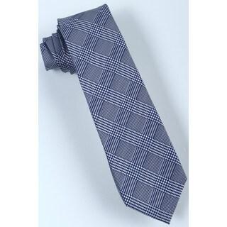 Brio Men's Microfiber Navy/ White Plaid Tie