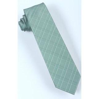 Brio Men's Green/ White Plaid Dress Tie