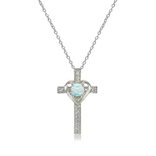 Glitzy Rocks Sterling Silver Gemstone Birthstone Heart in Cross Necklace (More options available)