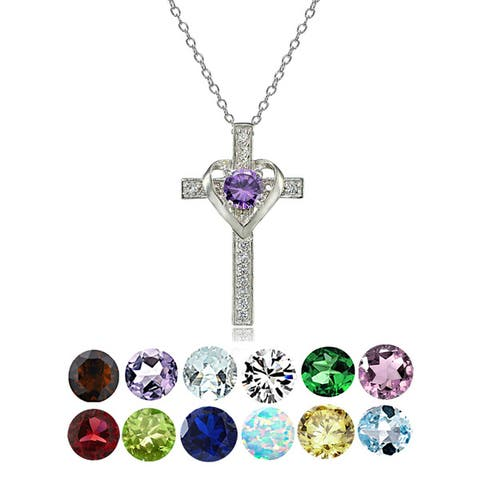Glitzy Rocks Sterling Silver Gemstone Birthstone Heart in Cross Necklace